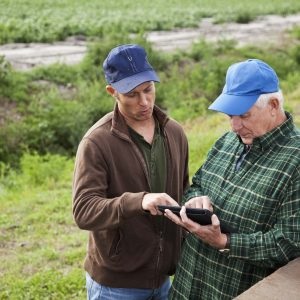 Two men working on a farm, leaning against the back of an old truck, using a digital tablet, modern technology on a potato farm.  The farmers are both looking down and touching the screen, with serious expressions on their faces.  The edge of a field of crops is visible in the background.  The men are wearing green and brown work clothing and blue caps on their heads.